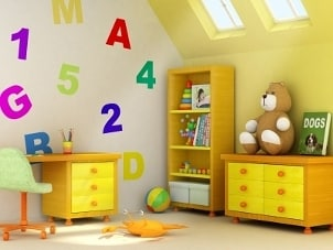 Bright wall covering decals in a child's room