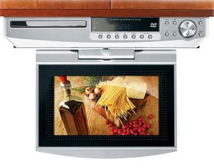 Compact fold-down LCD TV under a cabinet