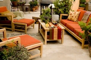 Relaxing patio with a beige outdoor rug