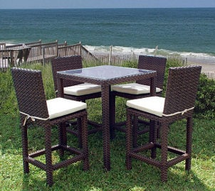 Patio furniture set by the sea