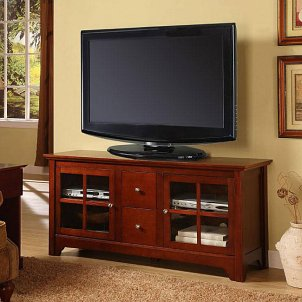 A cheap TV stand fits right in with a living room