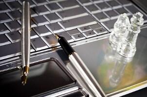 Silver business laptop keyboard on a desk