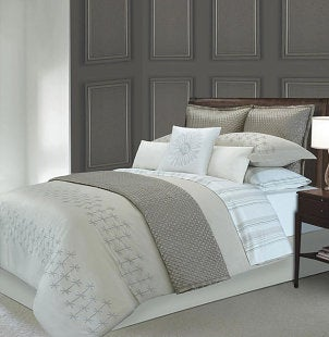 Bed with an elegant minimal duvet cover set