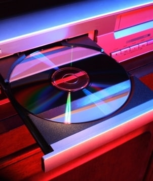 Blu-ray player with a disc in the open tray