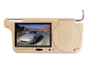 Tan mobile video visor screen and DVD player