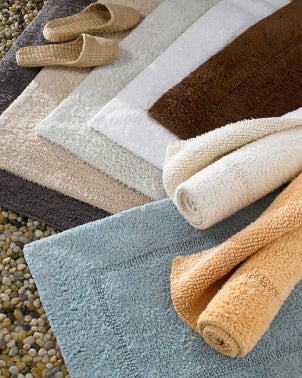 Selection of colorful and soft bath rugs and bath mats