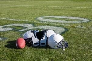 Football gear on a football field