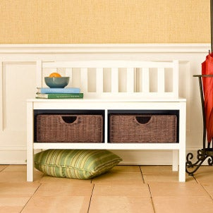 Wooden bench with storage baskets