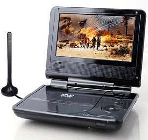 Black portable DVD player with antenna
