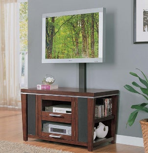 LCD television mounted on an entertainment center