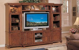 Cheap LCD TV in a wooden entertainment center