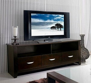 Widescreen LCD television on an entertainment center