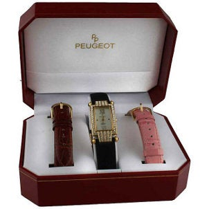 A lovely women's Peugeot watch in a gift box with two additional leather watchbands