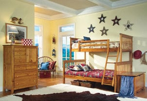 Twin-over-queen bunkbed in a child's bedroom