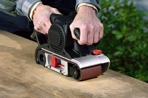 Power sander used as a carpentry tool