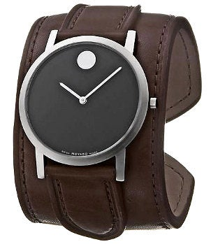 A men's Movado watch with a brown leather cuff-style watchband