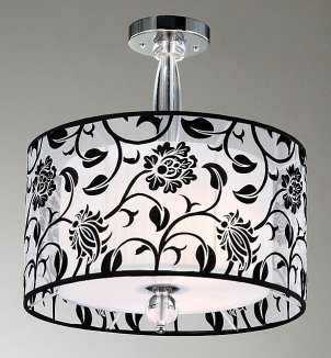 Black and white floral pattern lamp shade style chandelier