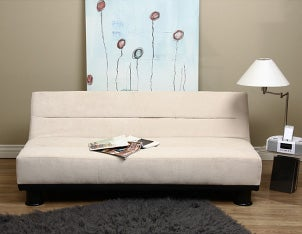 White futon in a comfortable living room
