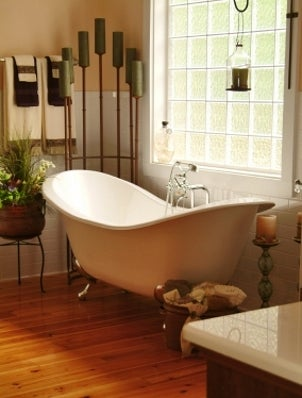 Remodeled bathroom with a soaking tub