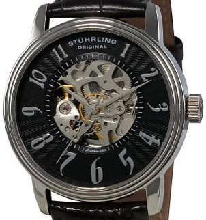 A Stuhrling Original watch with a skeleton case and an automatic movement