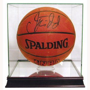 Signed basketball in a plexiglass case