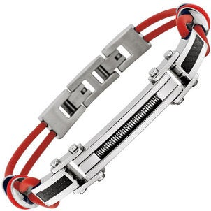 A cool red rubber and stainless steel men's bracelet