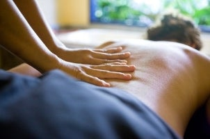 Couple enjoying a home massage