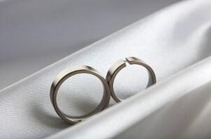 Two sleek titanium wedding rings