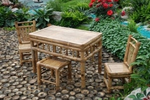 Bamboo patio dining set