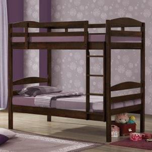 Bunk beds in a purple bedroom