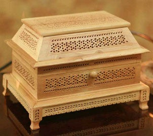 A pretty wooden jewelry box