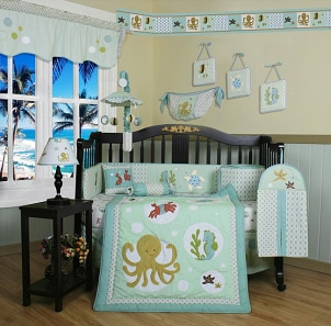 Cute sea animal baby bedding crib set