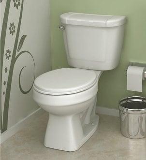 A two-piece porcelain toilet