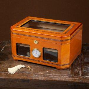 A wooden tabletop humidor