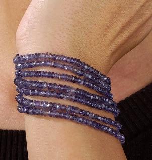 A pretty beaded iolite jewelry bracelet
