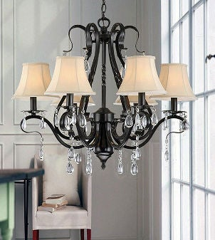 Wrought-iron chandelier with beige lamp shades