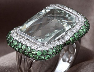A stunning gemstone and diamond cocktail ring