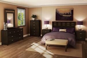 4-piece dark wood bedroom set with purple bedpread accent