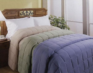 Multiple down comforters in different colors