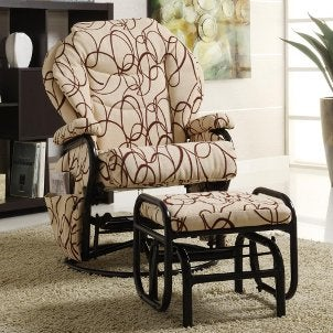 Glider and ottoman with printed fabric