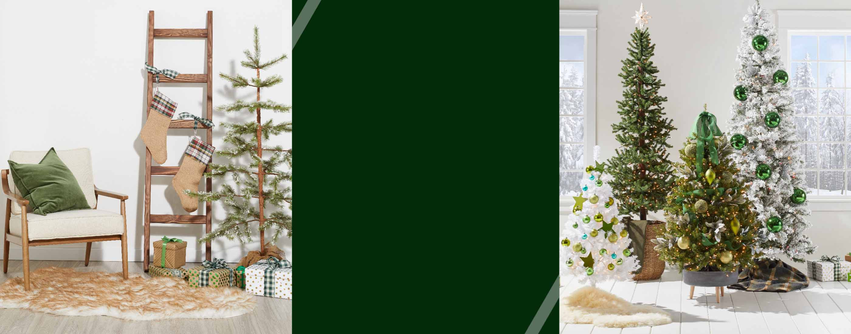 Holiday showcases with Christmas trees and a pair of stockings hanging from a ladder, selling fast online at Overstock
