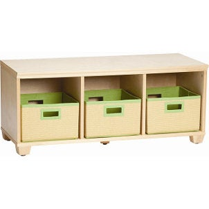 Wicker kids storage pull out drawers green fabric