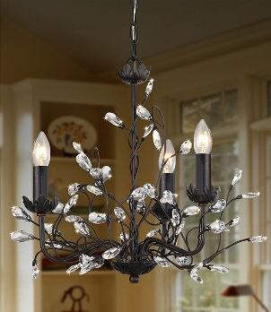 Crystal chandelier lights up dining room