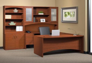 Office furniture and stocked shelves