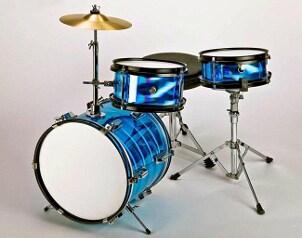 Complete bright blue drum set