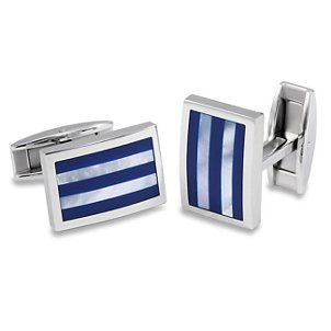 A pair of silver and blue cuff links
