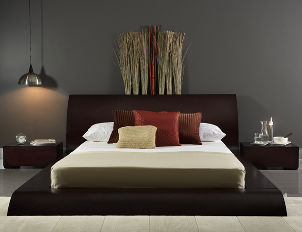Silver alarm clock complements contemporary bedroom