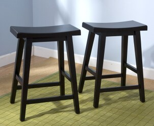 Pair of two black wooden bar stools