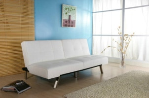 Modern white sofa bed in a living room