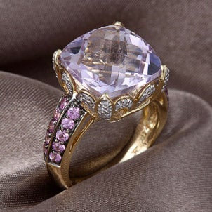 A stunning amethyst and pink sapphire ring